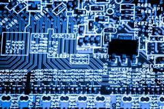 Κλείστε επάνω των ηλεκτρονικών κυκλωμάτων στην τεχνολογία στον κύριο πίνακα υποβάθρου Mainboard, τη μητρική κάρτα ΚΜΕ, τον πίνακα Στοκ Εικόνες