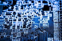 Κλείστε επάνω των ηλεκτρονικών κυκλωμάτων στην τεχνολογία στον κύριο πίνακα υποβάθρου Mainboard, τη μητρική κάρτα ΚΜΕ, τον πίνακα Στοκ Φωτογραφίες