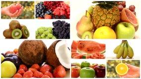 Κλείστε επάνω των διαφορετικών φρούτων, montage απόθεμα βίντεο