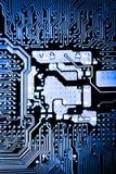 Κλείστε επάνω των κυκλωμάτων ηλεκτρονικών στον πίνακα λογικής υποβάθρου υπολογιστών τεχνολογίας Mainboard, μητρική κάρτα ΚΜΕ, κύρ Στοκ Φωτογραφίες