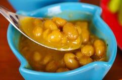 Κλείστε επάνω των φασολιών, σε ένα μπλε πλαστικό κύπελλο, τη ecuatorian κουζίνα Στοκ Φωτογραφίες