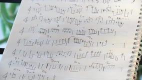 Κλείστε επάνω των χειρόγραφων σημειώσεων τζαζ μουσικής κοντά στα κλειδιά πιάνων φιλμ μικρού μήκους