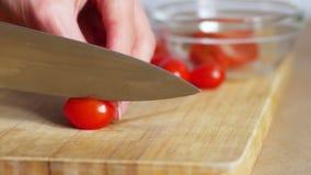 Κλείστε επάνω των χεριών γυναικών που κόβουν τις ντομάτες κερασιών και που βάζουν τις στο άσπρο κύπελλο, 4k απόθεμα βίντεο