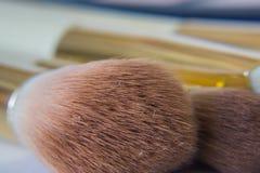 Κλείστε επάνω applicators βουρτσών makeup Στοκ Φωτογραφία