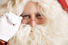 Κλείστε επάνω Santa στα γυαλιά Στοκ Εικόνα