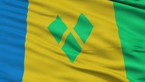 Κλείστε την επάνω κυματίζοντας εθνική σημαία του Άγιου Βικεντίου και Γρεναδίνες ελεύθερη απεικόνιση δικαιώματος