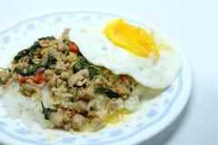 Κλείστε το επάνω τηγανισμένο ρύζι με το βασιλικό και το τηγανισμένο αυγό Στοκ Φωτογραφίες
