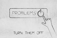 Κλείστε το κουμπί προβλημάτων σας με τον κρότο χεριών ελεύθερη απεικόνιση δικαιώματος