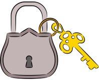 Κλείδωμα και πλήκτρο Στοκ εικόνες με δικαίωμα ελεύθερης χρήσης