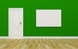 Κλειστή άσπρη πόρτα στον πράσινο τοίχο, μια κενή αφίσα, ξύλινο πάτωμα Στοκ εικόνες με δικαίωμα ελεύθερης χρήσης