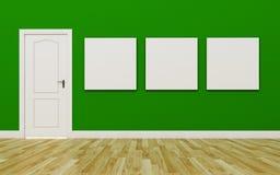 Κλειστή άσπρη πόρτα στον πράσινο τοίχο, τρεις κενή αφίσα, ξύλινο Floo Στοκ εικόνα με δικαίωμα ελεύθερης χρήσης