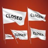 Κλειστός - άσπρες διανυσματικές σημαίες Στοκ Εικόνες