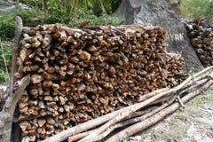 Κλειστός επάνω woodpile σε ένα κατώφλι Στοκ Εικόνα