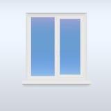 Κλειστό, άσπρο πλαστικό παράθυρο Στοκ Φωτογραφία