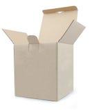 κλειστό ανοικτό κουτί από χαρτόνι που δένεται με ταινία επάνω και που απομονώνεται στοκ εικόνα με δικαίωμα ελεύθερης χρήσης