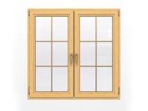 Κλειστό ξύλινο παράθυρο στο άσπρο υπόβαθρο Στοκ Εικόνες