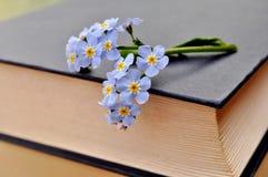 Κλειστό παλαιό, παχύ βιβλίο με τα μπλε λουλούδια στοκ φωτογραφίες με δικαίωμα ελεύθερης χρήσης
