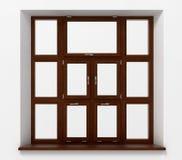 Κλειστό πλαστικό παράθυρο με την ξύλινη σύσταση Στοκ φωτογραφίες με δικαίωμα ελεύθερης χρήσης