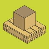 Κλειστό συσκευάζοντας κιβώτιο παράδοσης χαρτοκιβωτίων στην ξύλινη παλέτα που απομονώνεται στο υπόβαθρο chartreuse Στοκ Εικόνα