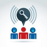 Κλειδί ανθρώπων και εννοιολογικό διανυσματικό εικονίδιο κλειδαριών λουκέτων Στοκ Φωτογραφία