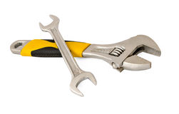 Κλειδί, γαλλικό κλειδί, κλειδί σε ένα άσπρο υπόβαθρο Στοκ φωτογραφία με δικαίωμα ελεύθερης χρήσης