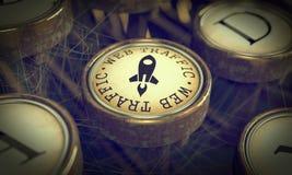Κλειδί κυκλοφορίας Ιστού στη γραφομηχανή Grunge. στοκ εικόνες με δικαίωμα ελεύθερης χρήσης
