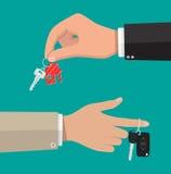 Κλειδί με το σπίτι keychain και κλειδί αυτοκινήτων με το συναγερμό απεικόνιση αποθεμάτων