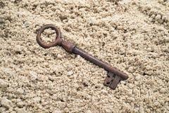 Κλειδί που χάνεται στην άμμο στοκ εικόνα με δικαίωμα ελεύθερης χρήσης