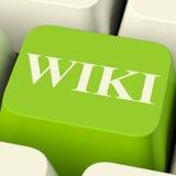 Κλειδί υπολογιστών Wiki για τις σε απευθείας σύνδεση πληροφορίες ή την εγκυκλοπαίδεια στοκ εικόνες
