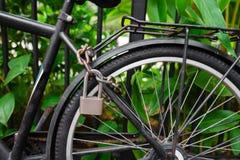 Κλειδαριά και αλυσίδα ασφάλειας που εμποδίζουν τη ρόδα ποδηλάτων Στοκ Φωτογραφίες