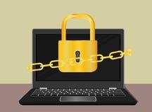 Κλειδαριά και υπολογιστής ασφαλείας πληροφοριών Στοκ Εικόνες