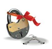Κλειδαριά με την κορδέλλα Στοκ Εικόνα