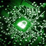 Κλειδαριά στο τσιπ υπολογιστή Στοκ φωτογραφίες με δικαίωμα ελεύθερης χρήσης