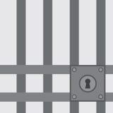Κλειδαριά φραγμών φυλακών Στοκ Εικόνες