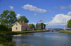 Κλειδαριά Götakanal σε Sjötorp, Σουηδία Στοκ Φωτογραφία