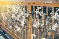 Κλειδαριές αγάπης που κρεμούν 2 Στοκ εικόνα με δικαίωμα ελεύθερης χρήσης