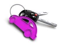 Κλειδιά αυτοκινήτων με το μπρελόκ εικονιδίων αυτοκινήτων Έννοια για την ιδιοκτησία αυτοκινήτων Στοκ Φωτογραφία