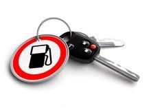 Κλειδιά αυτοκινήτων με το μπρελόκ: Σημάδι βενζίνης Έννοια των τιμών βενζίνης/αερίου/καυσίμων/του πετρελαίου Στοκ Εικόνες