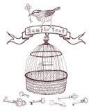 Κλειδιά και κάρτα σχεδίου πουλιών Στοκ εικόνα με δικαίωμα ελεύθερης χρήσης