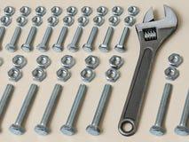 κλειδιά κλειδιών καρυδιών συνδυασμού μπουλονιών Στοκ Εικόνες