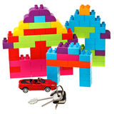 Κλειδιά, πρότυπο αυτοκίνητο, πλαστικό σπίτι φραγμών Στοκ Εικόνες