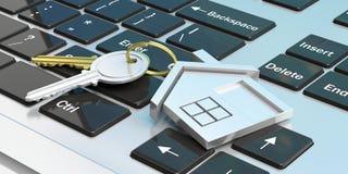 Κλειδιά σπιτιών σε ένα πληκτρολόγιο υπολογιστών τρισδιάστατη απεικόνιση Στοκ φωτογραφία με δικαίωμα ελεύθερης χρήσης