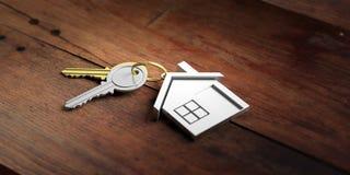 Κλειδιά σπιτιών στο ξύλινο υπόβαθρο τρισδιάστατη απεικόνιση Στοκ φωτογραφία με δικαίωμα ελεύθερης χρήσης