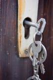 Κλειδιά στην κλειδαριά στοκ εικόνα με δικαίωμα ελεύθερης χρήσης