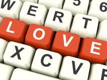 Κλειδιά υπολογιστών αγάπης που παρουσιάζουν την αγάπη και ειδύλλιο για τους βαλεντίνους Στοκ Εικόνες