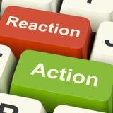 Κλειδιά υπολογιστών αντίδρασης δράσης που παρουσιάζουν την ανατροφοδότηση και Respo ελέγχου Στοκ Φωτογραφίες