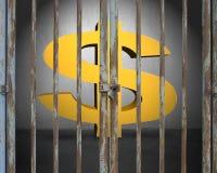 Κλειδωμένη πόρτα με το φωτισμό και χρυσό σύμβολο χρημάτων στο γκρίζο concre Στοκ εικόνα με δικαίωμα ελεύθερης χρήσης