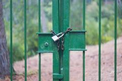 Κλειδωμένη πύλη του δασικού τομέα στοκ εικόνα
