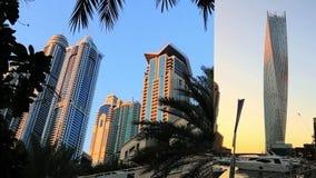 Κλειδώνω-στον πυροβολισμό των σύγχρονων κτηρίων στη μαρίνα του Ντουμπάι, Ηνωμένα Αραβικά Εμιράτα απόθεμα βίντεο
