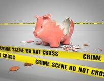 Κλεμμένη piggy τράπεζα Στοκ Φωτογραφίες